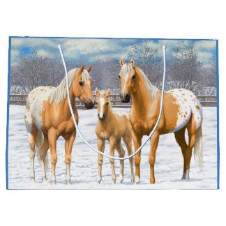 Sacola Para Presentes Grande Cavalos do Appaloosa do Palomino na neve