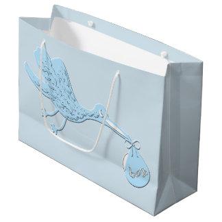 Sacola Para Presentes Grande Cegonha azul que entrega o menino