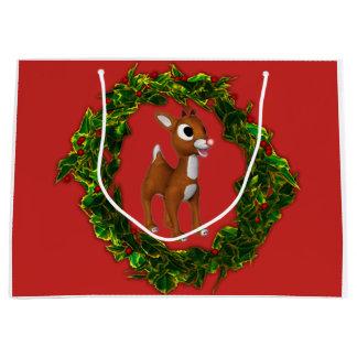 Sacola Para Presentes Grande Cervos bonitos e grinalda do Natal