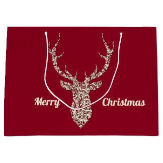 Sacola Para Presentes Grande Cervos filigranas do Natal
