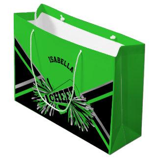 Sacola Para Presentes Grande Cheerleaderes - verde limão, preto, prata -
