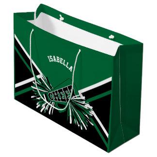 Sacola Para Presentes Grande Cheerleaderes - verdes escuro, preto, branco -