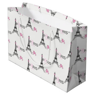 Sacola Para Presentes Grande Chique cor-de-rosa da caniche de Paris France da
