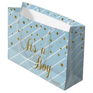 Sacola Para Presentes Grande Confetes doces dos azuis bebés e do ouro