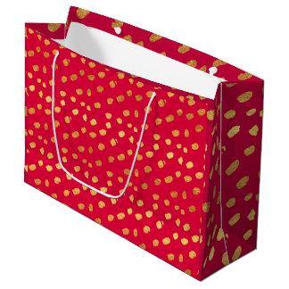 Sacola Para Presentes Grande Confetes elegantes do vermelho e do ouro