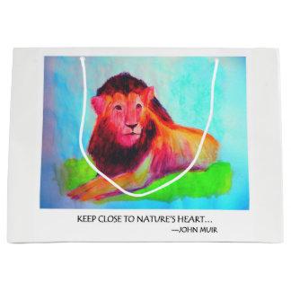 Sacola Para Presentes Grande Coração do leão - conservação John Muir do animal