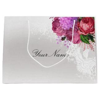 Sacola Para Presentes Grande Costume branco do nome do laço da peônia rosa