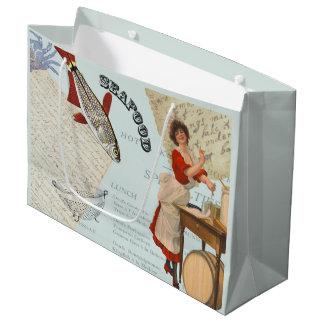 Sacola Para Presentes Grande Cozinhar do marisco do vintage