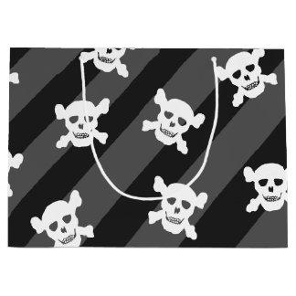 Sacola Para Presentes Grande Crânio branco e Crossbones em listras pretas