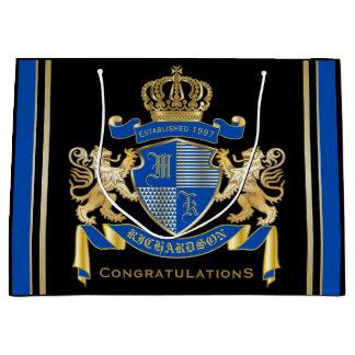 Sacola Para Presentes Grande Criar seu próprio emblema azul do leão do ouro da