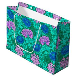 Sacola Para Presentes Grande Crisântemos, Aqua e violeta de William Morris