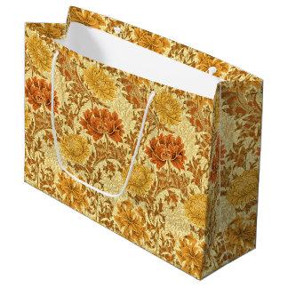 Sacola Para Presentes Grande Crisântemos de William Morris, ouro da mostarda