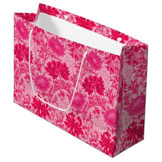 Sacola Para Presentes Grande Crisântemos de William Morris, rosa do fúcsia