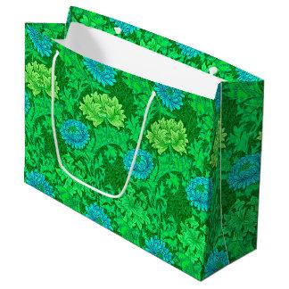 Sacola Para Presentes Grande Crisântemos, verde limão & Aqua de William Morris