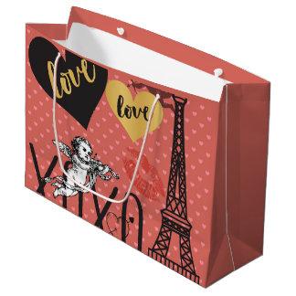 Sacola Para Presentes Grande Cupido dos namorados, corações e a torre Eiffel