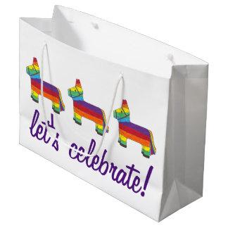 Sacola Para Presentes Grande Deixe-nos comemorar! Aniversário Piñata do asno do