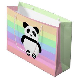 Sacola Para Presentes Grande Desenho bonito da panda com listras Pastel
