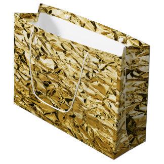 Sacola Para Presentes Grande Design abstrato chapeado crinkly da folha de lata