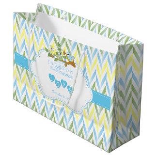 Sacola Para Presentes Grande Design azul Pastel LG do esquilo - chá do bebé