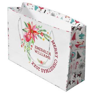 Sacola Para Presentes Grande Design do buquê das flores do Feliz Natal