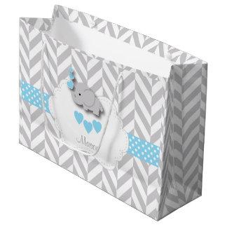 Sacola Para Presentes Grande Design do elefante dos azuis bebés - chá do bebé