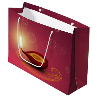Sacola Para Presentes Grande Diwali feliz brilhante Diya - grande saco do