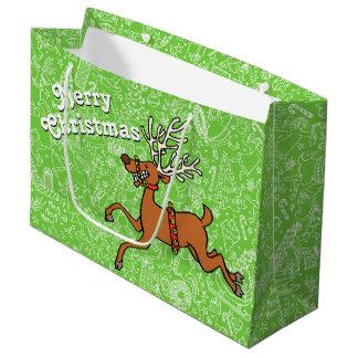 """Sacola Para Presentes Grande Do """"agitação Natal"""" com rena - grande saco do"""
