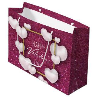Sacola Para Presentes Grande Do brilho branco do coração do dia dos namorados