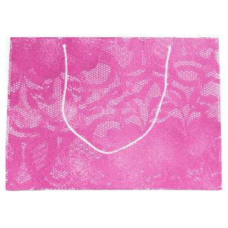 Sacola Para Presentes Grande Do rosa brilhante do rosa do laço encanto feminino