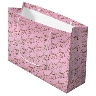 Sacola Para Presentes Grande Doce elegante 16 no rosa e no ouro