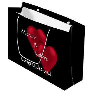 Sacola Para Presentes Grande Dois corações um noivado Lg do casamento do amor