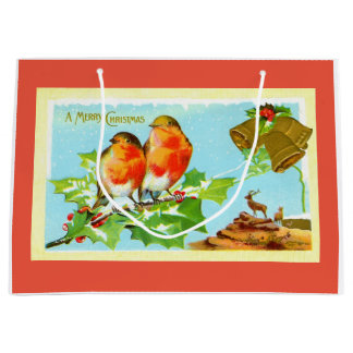 Sacola Para Presentes Grande Dois robins no Natal
