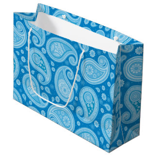 Sacola Para Presentes Grande Elegante azul limpo do teste padrão de Paisley