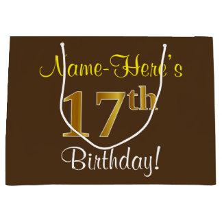 Sacola Para Presentes Grande Elegante, Brown, aniversário do ouro do falso 17o