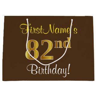 Sacola Para Presentes Grande Elegante, Brown, aniversário do ouro do falso 82nd