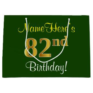 Sacola Para Presentes Grande Elegante, verde, aniversário do ouro do falso 82nd