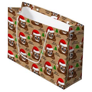 Sacola Para Presentes Grande emoji do poo do Natal com o saco do presente do