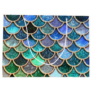 Sacola Para Presentes Grande Escalas azuis multicoloridos da sereia do brilho