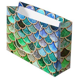 Sacola Para Presentes Grande Escalas brilhantes azuis verdes da sereia do