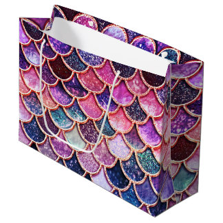 Sacola Para Presentes Grande Escalas cor-de-rosa Mermaidscales do brilho da