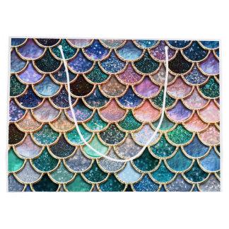 Sacola Para Presentes Grande Escalas multicoloridos luxuosas da sereia do