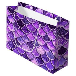 Sacola Para Presentes Grande Escalas ultravioletas da sereia do brilho