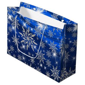 Sacola Para Presentes Grande Estrelas azuis do Natal com o cristal de gelo