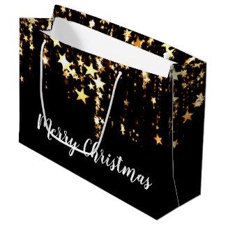 Sacola Para Presentes Grande estrelas modernas elegantes do ouro do Feliz Natal