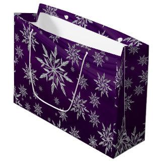 Sacola Para Presentes Grande Estrelas roxas do Natal com o cristal de gelo