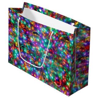 Sacola Para Presentes Grande Estrelas Sparkling do Natal luxuoso