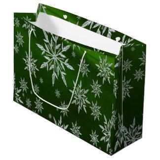 Sacola Para Presentes Grande Estrelas verdes do Natal com o cristal de gelo
