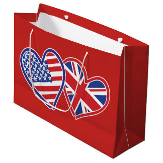 Sacola Para Presentes Grande EUA e corações BRITÂNICOS da bandeira