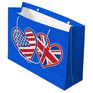 Sacola Para Presentes Grande EUA e corações patrióticos BRITÂNICOS da bandeira
