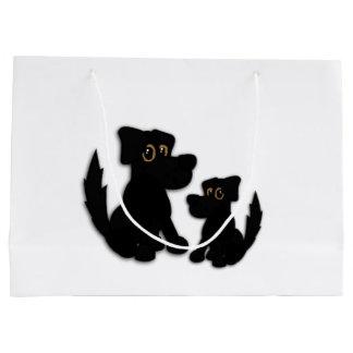 Sacola Para Presentes Grande Família de cão preto